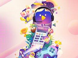 虎牙上市一周年海报插画#从0到1,敢为人先#