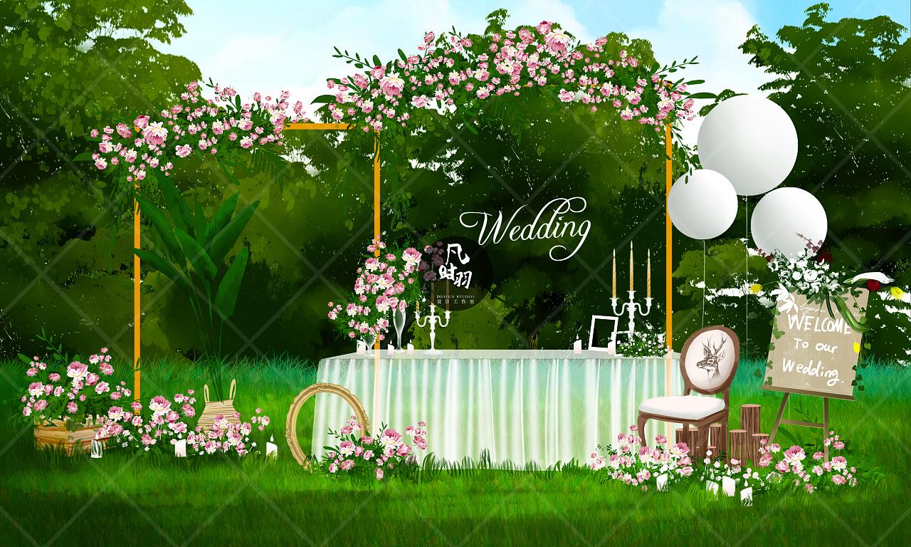 婚礼手绘 — 电脑「清新之恋」