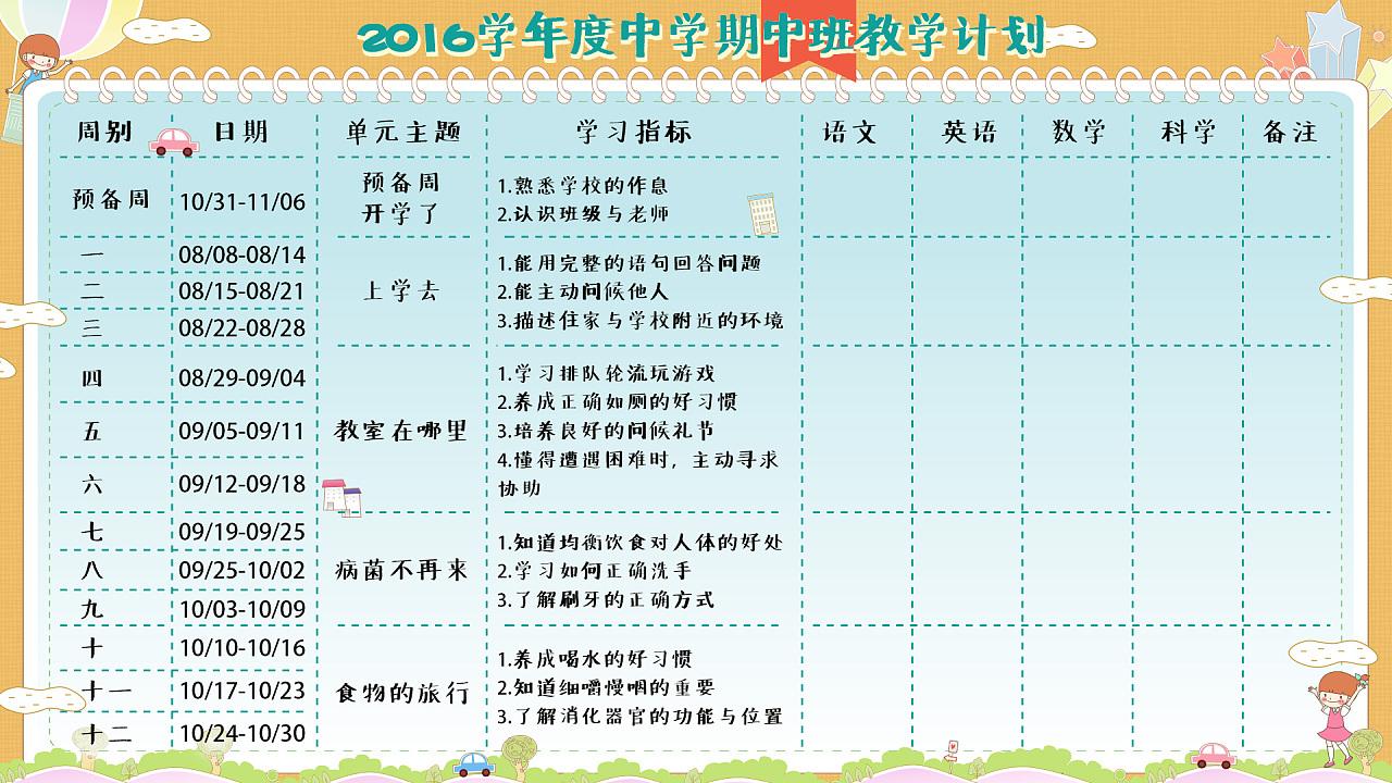 早幼教-教学计划-作息时间表设计
