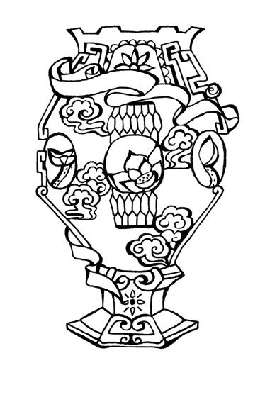 画花瓶简笔画-图腾 图案 简约 插画 插图设计
