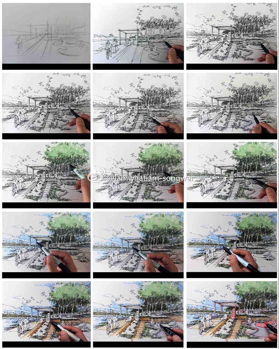 景观手绘步骤