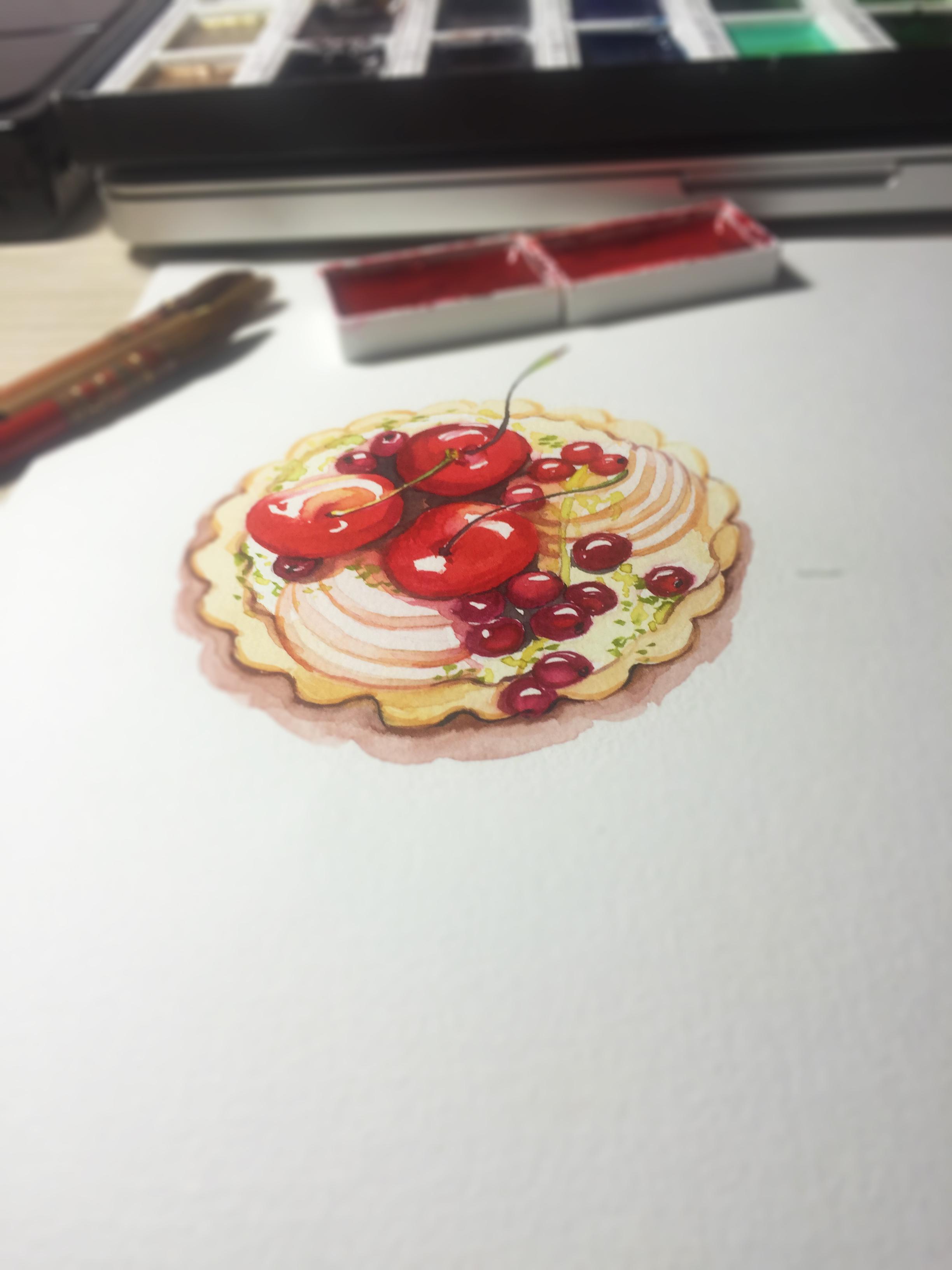 水彩手绘--甜品|纯艺术|水彩|蒲之未落 - 原创作品