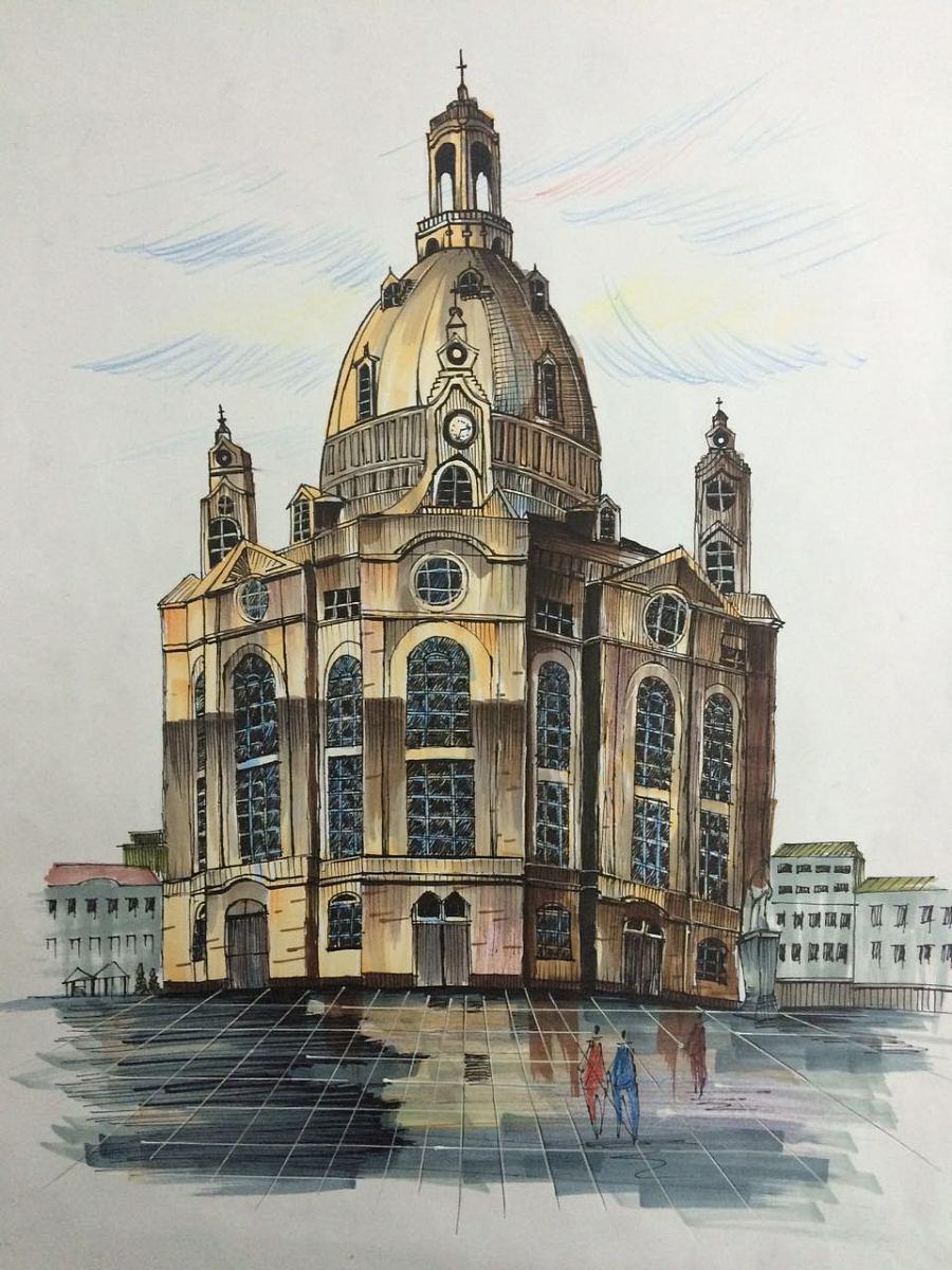 景观建筑手绘—教堂