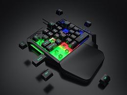3C单手键盘建模渲染图