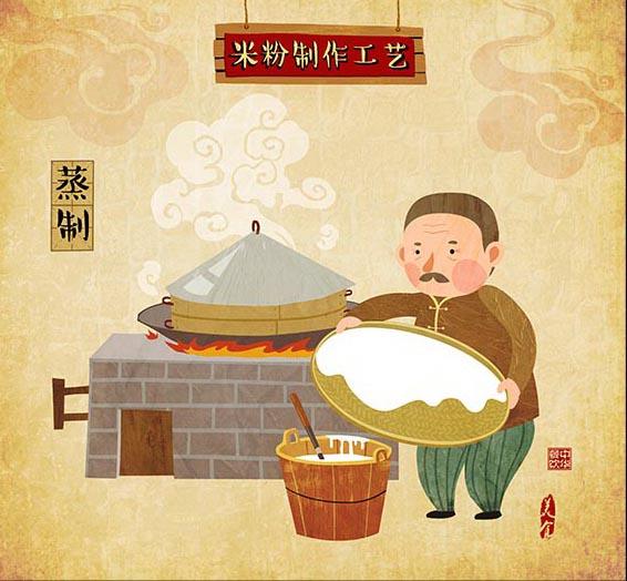 (娃他妈)手绘米粉工艺流程插画|商业插画|插画|娃他