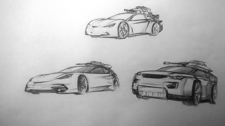 汽车设计手绘草图 插画 概念设定 古书喊万岁 - 原创