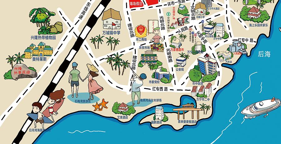 海南地产手绘地图---区域图