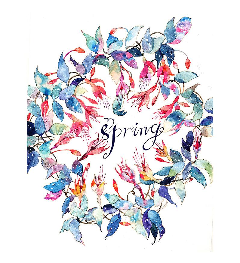 今天立春~春天万岁~ 水彩 花卉 装饰画|插画|商业插画图片