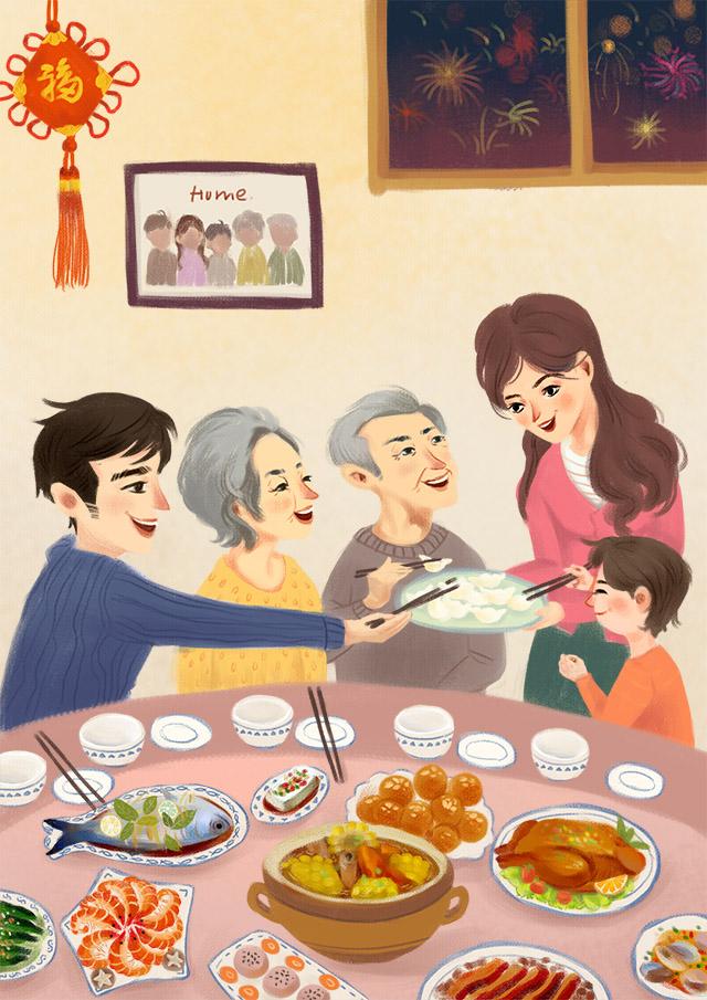家人团圆卡通图