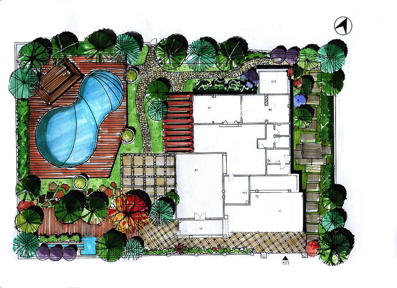 别墅小景观练习|空间|景观设计|张石桥 - 原创作品图片
