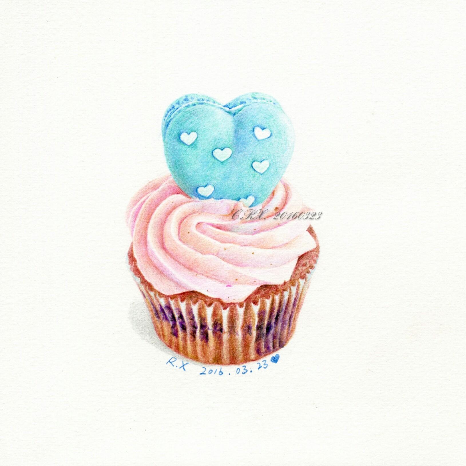【彩铅甜品】马卡龙小蛋糕