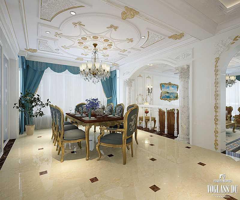 重庆融创凡尔赛餐厅装修设计案例a餐厅蓝调法式别墅风格效果图别墅宣传手册图片