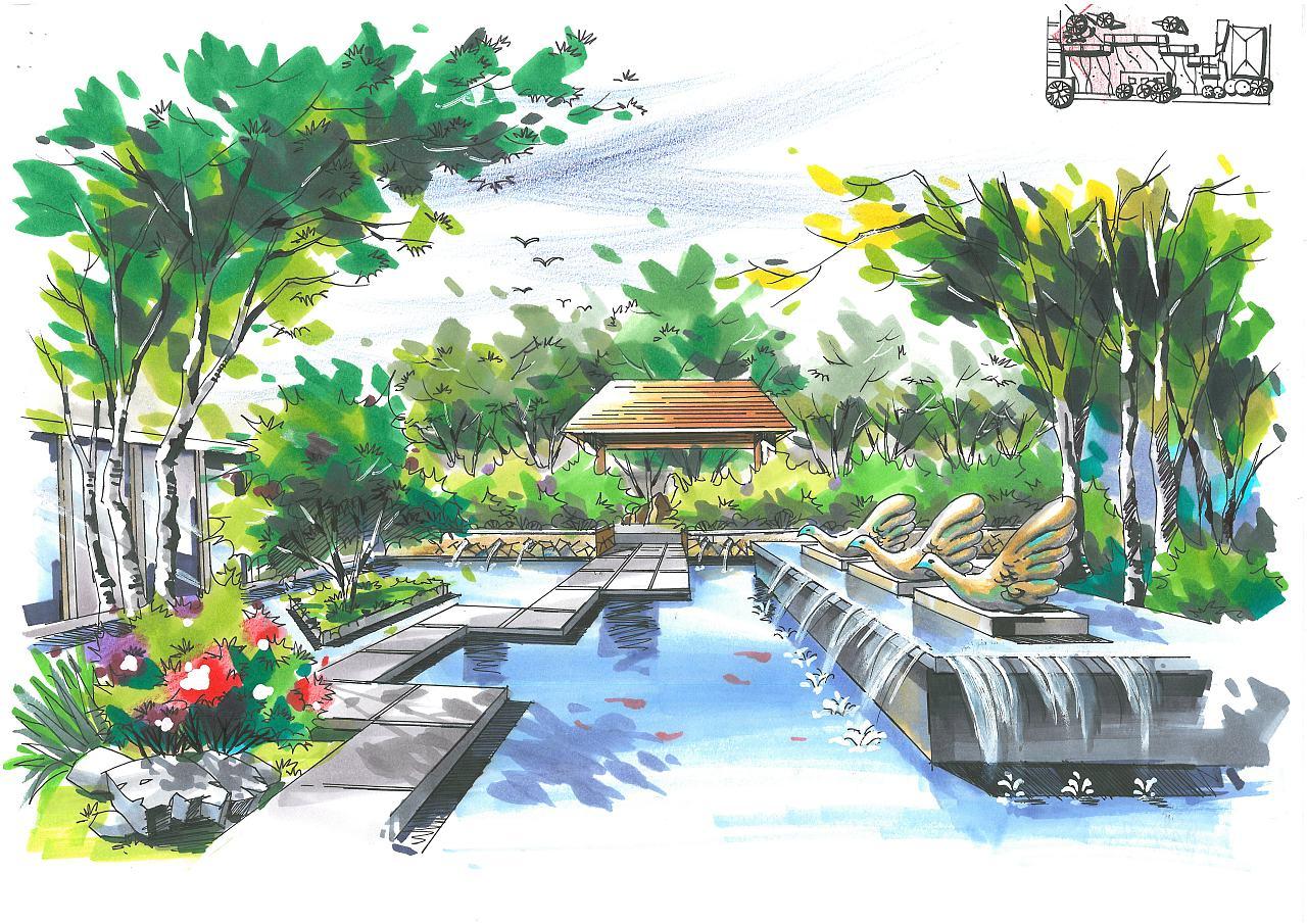 屋顶花园手绘