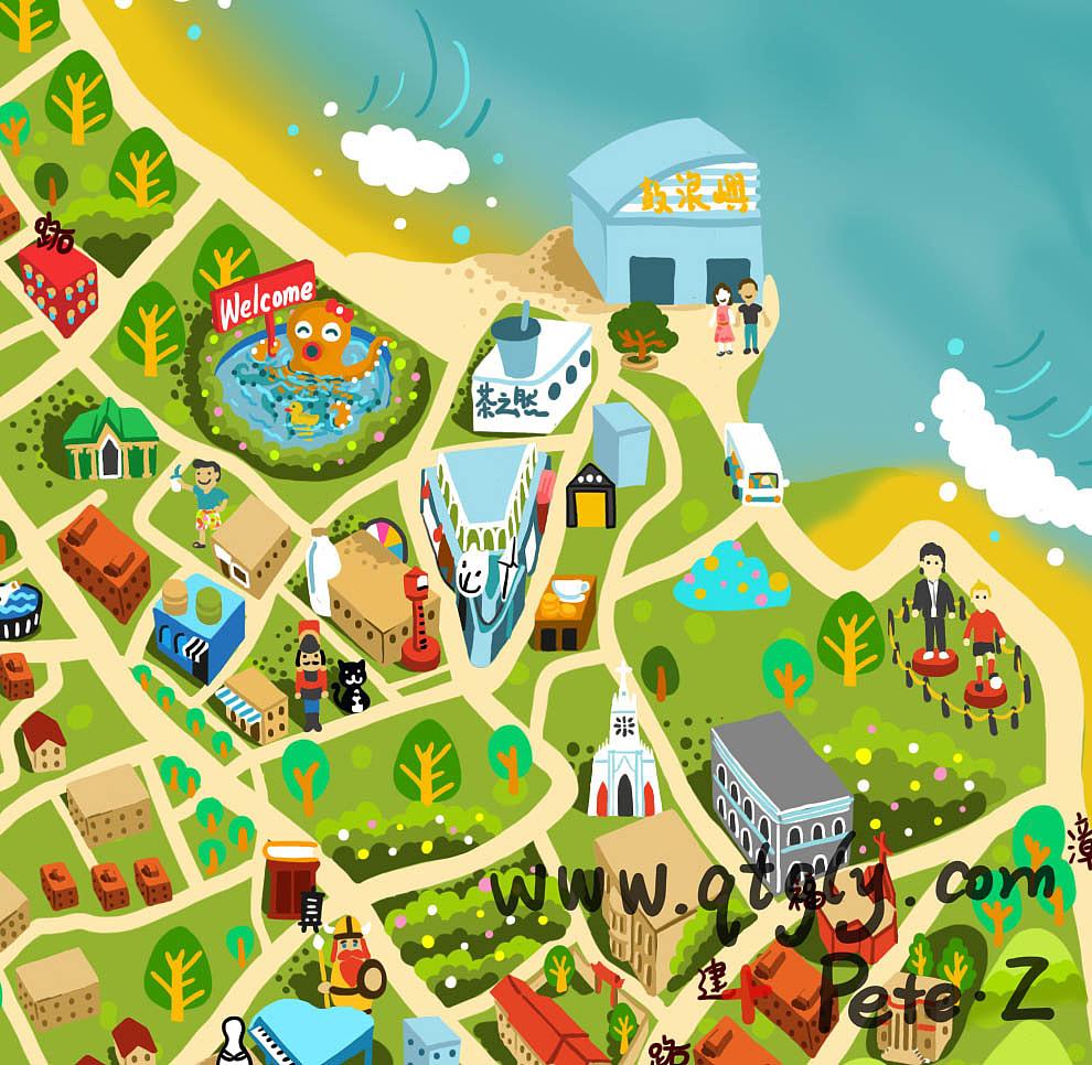 鼓浪屿手绘地图