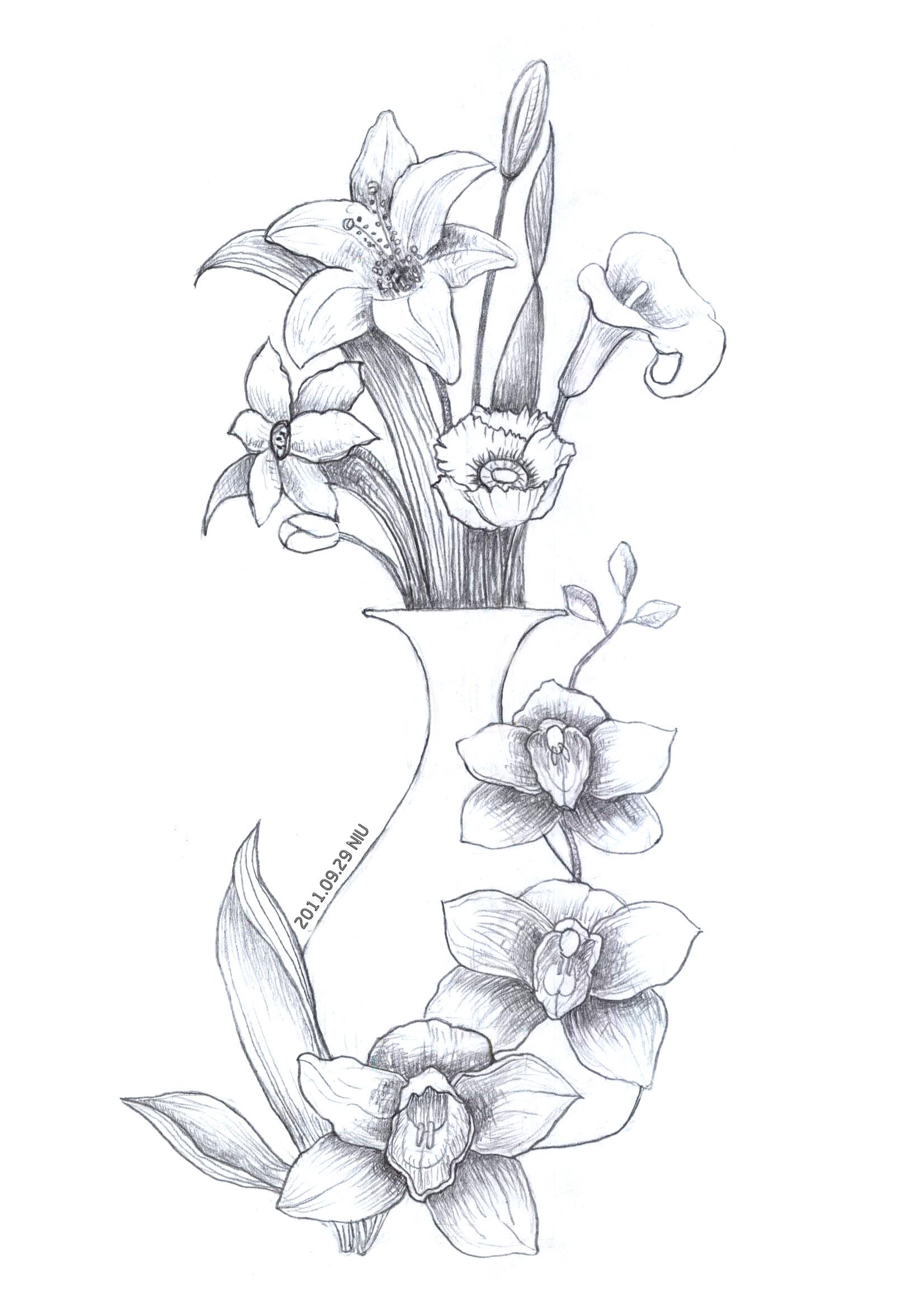 手绘花瓶图案素描