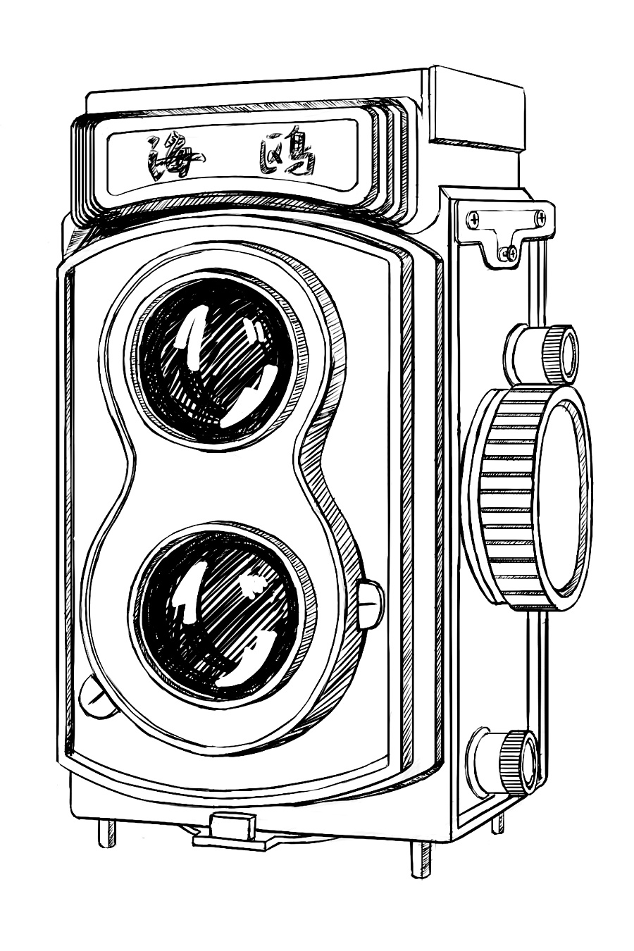 手绘复古相机