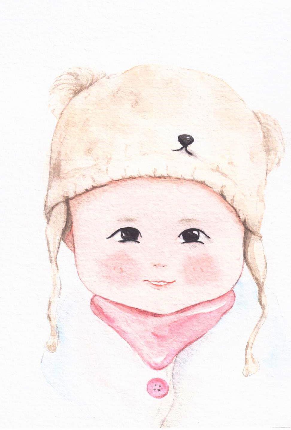 萌娃宝宝可爱手绘水彩画像