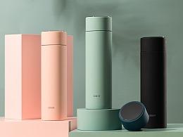 电商产品拍摄 北欧风简约纯色保温杯 可爱显温杯