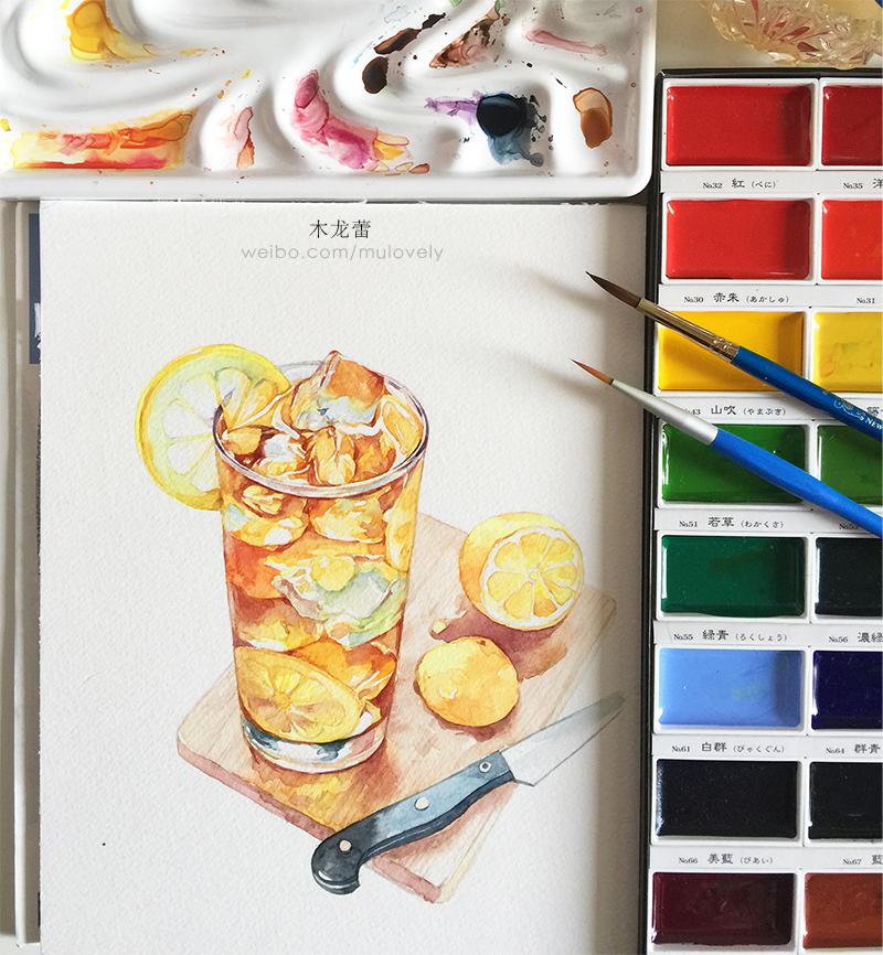 手绘水彩 柠檬冰记录夏天(附步骤)