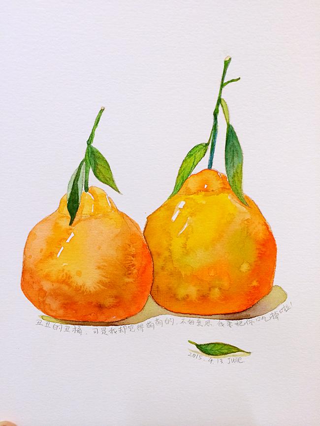 手绘水彩系列1—丑橘子