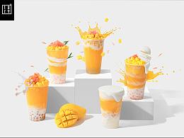 杨枝甘露 饮品奶茶冷饮动感美食悬浮拍摄