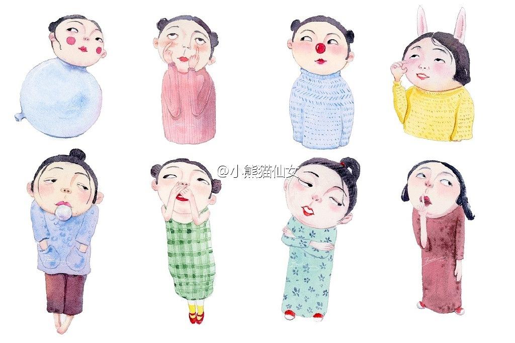 【小熊猫】水彩手绘人物水彩教程人物卡通陶俑小人儿头像手绘水彩