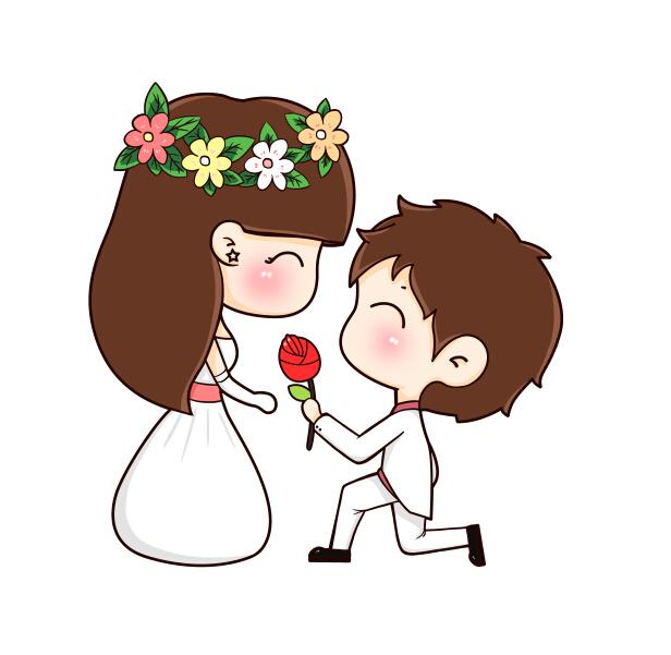 情人节求婚情侣卡通人物