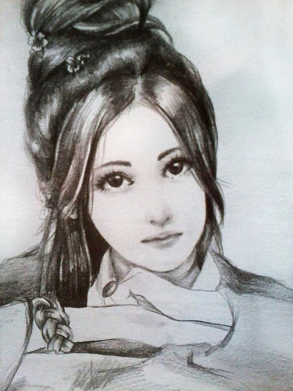 原创作品:铅笔手绘古装女子