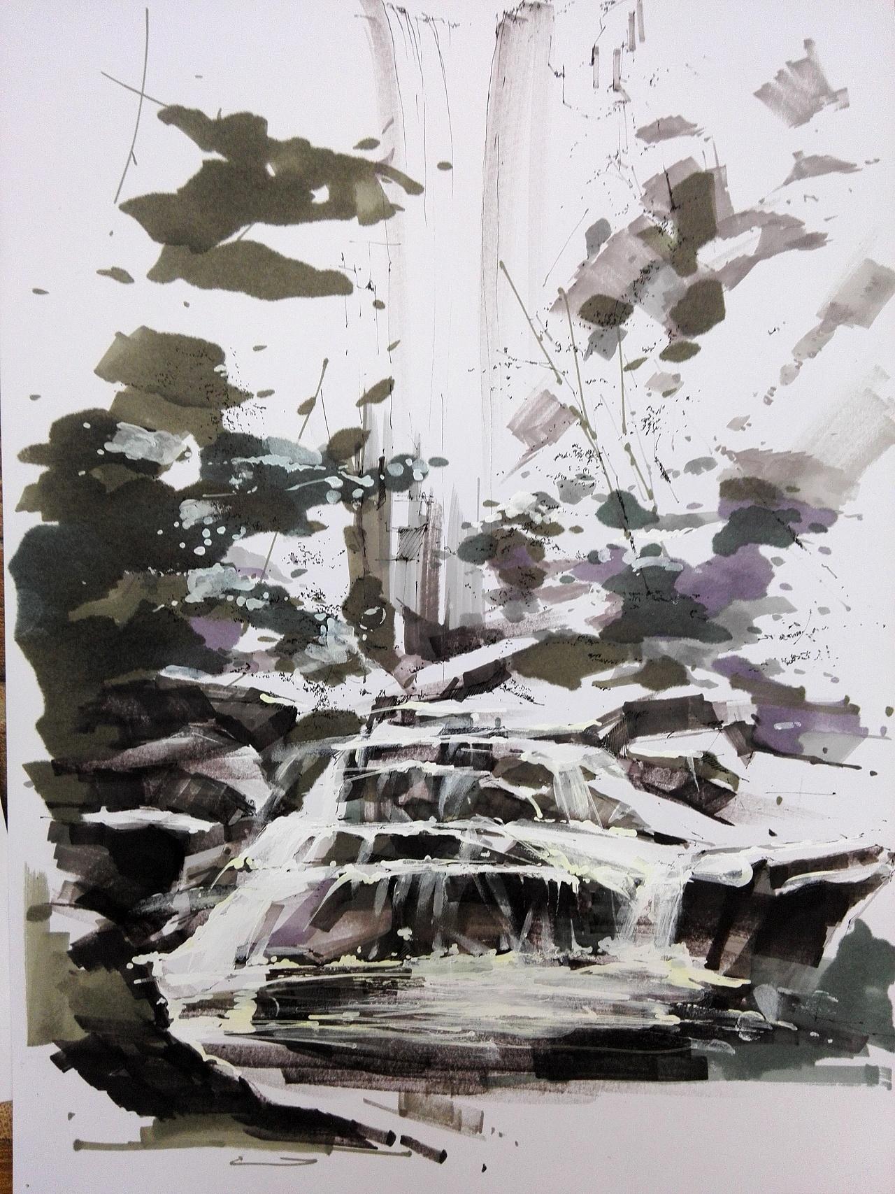 西安tt手绘培训课堂训练:第二阶段材质训练,水,植被,石材