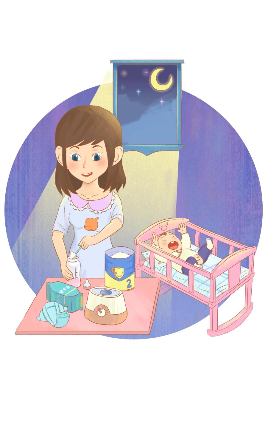 母婴插画_母婴绘画插画矢量图片