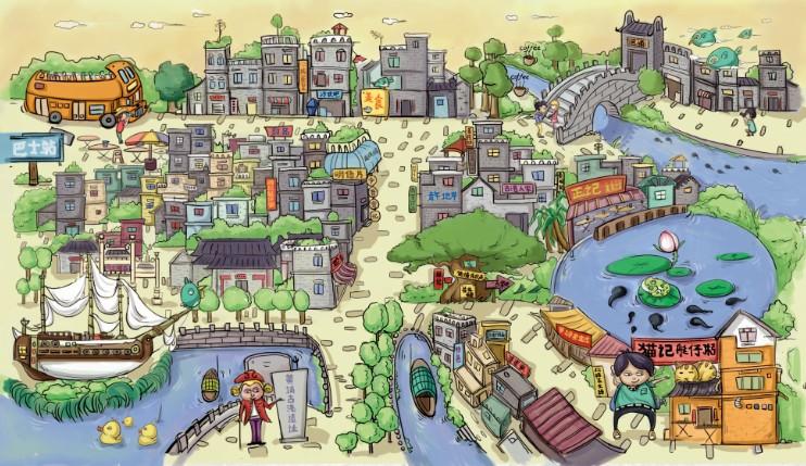 黄埔古港手绘美食地图明信片|商业插画|插画|今昔寄