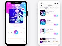 iphone X音乐界面交互设计