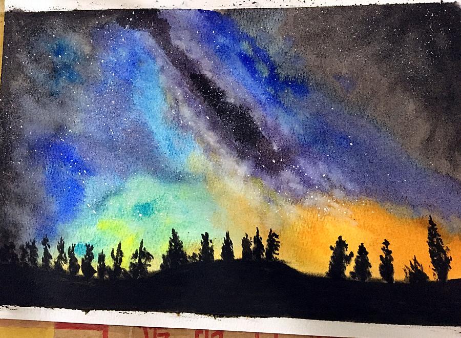 水彩畫教程pdf-星空楓葉水彩畫教程-自學水彩畫教程-簡單水彩畫教程圖片
