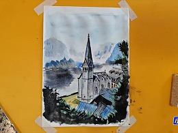水彩画湖边的教堂-小尤说画