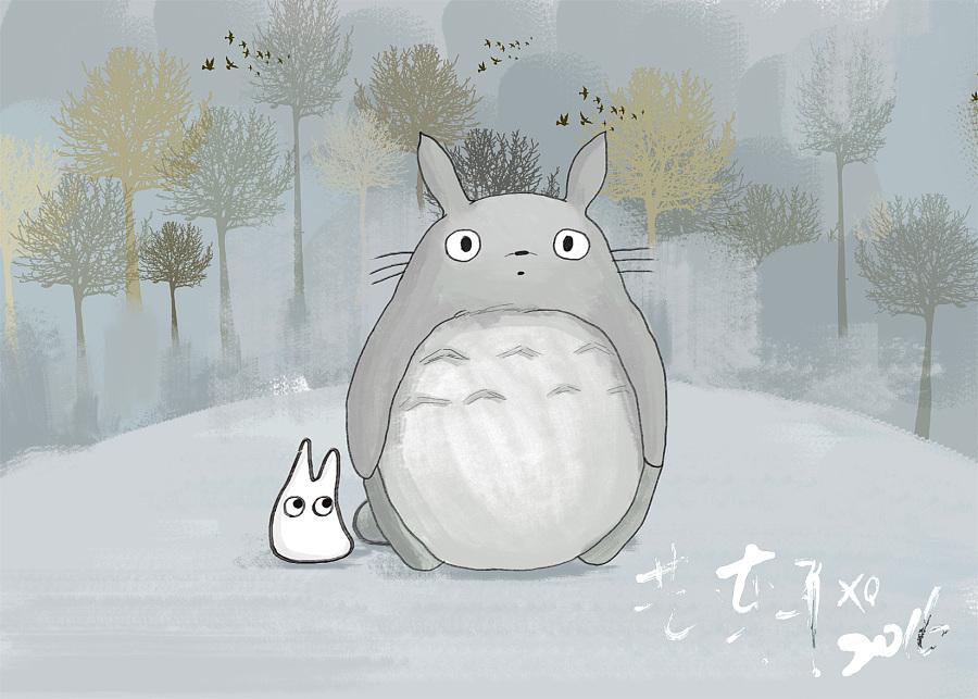 龙猫壁纸(ps手绘)|其他绘画|插画|yixuanhuiben