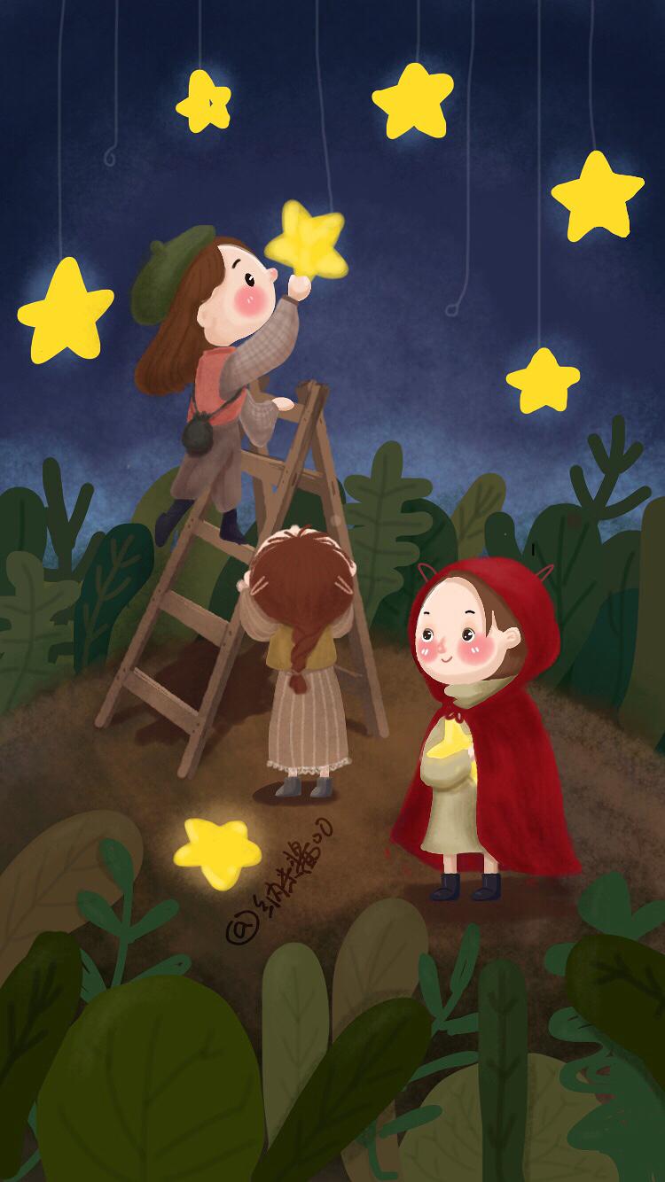 摘星星的小女孩,手绘插画,手机壁纸
