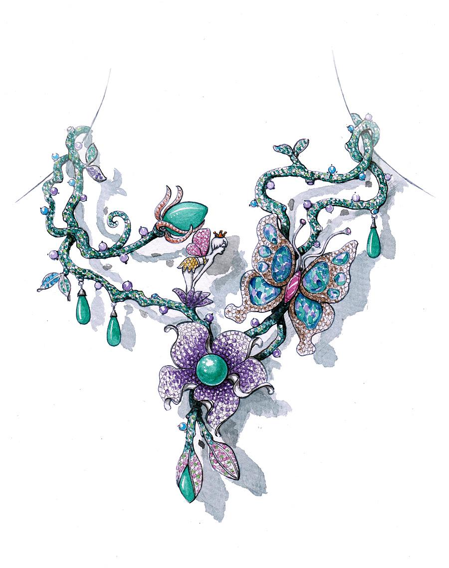 代波军艺术珠宝手绘设计稿!|首饰|手工艺|代波军艺术
