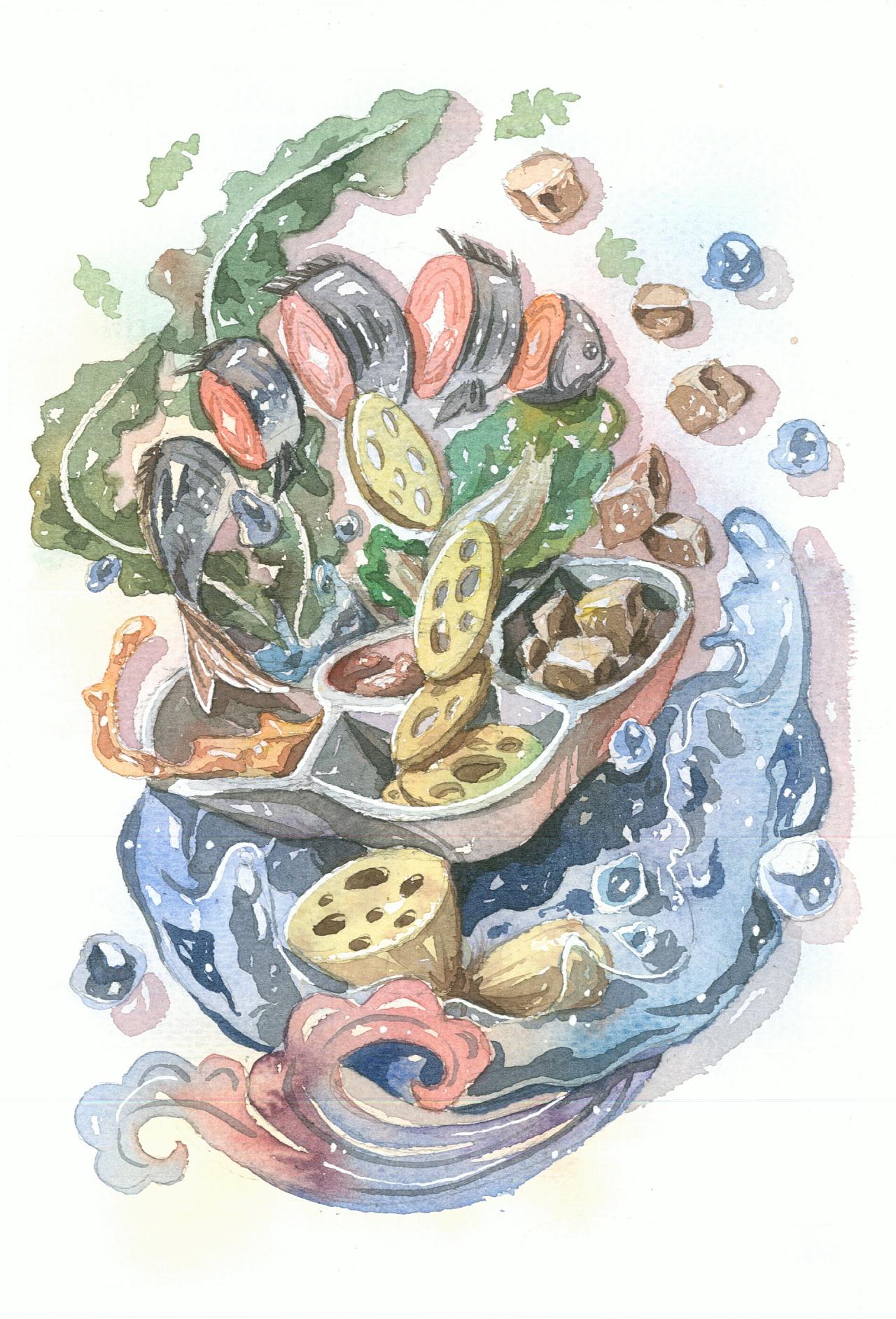 水彩手绘·原创济南美食和风插画,一起享受济南美味的