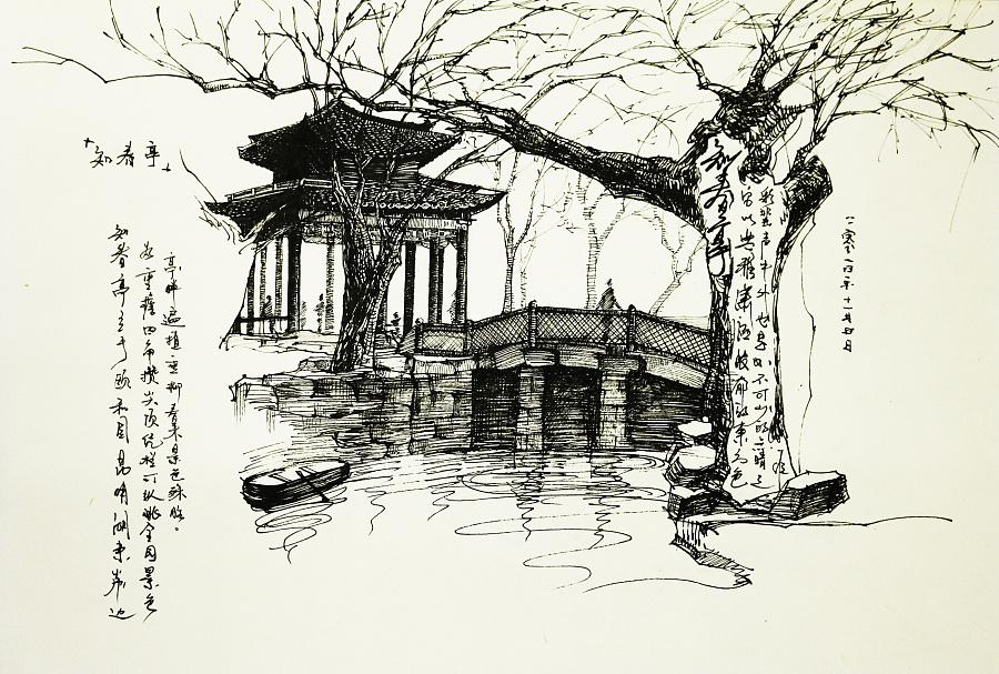 中式建筑风景钢笔画