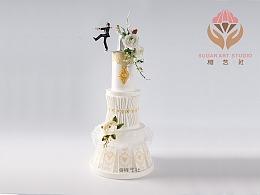 糖艺社翻糖蛋糕-翻糖/糖霜吊线技法-婚礼蛋糕作品