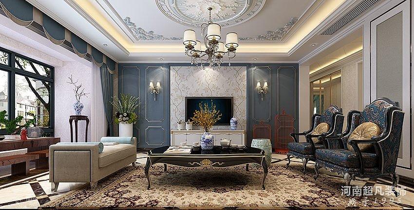 客厅电视背景墙——永威迎宾府装修效果图——法式风格效果图