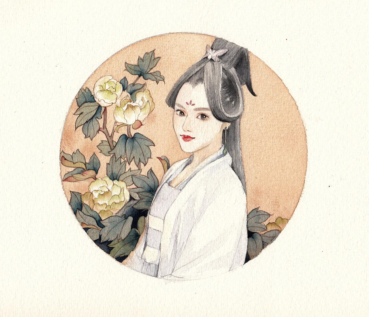 手绘水彩古风人物插画