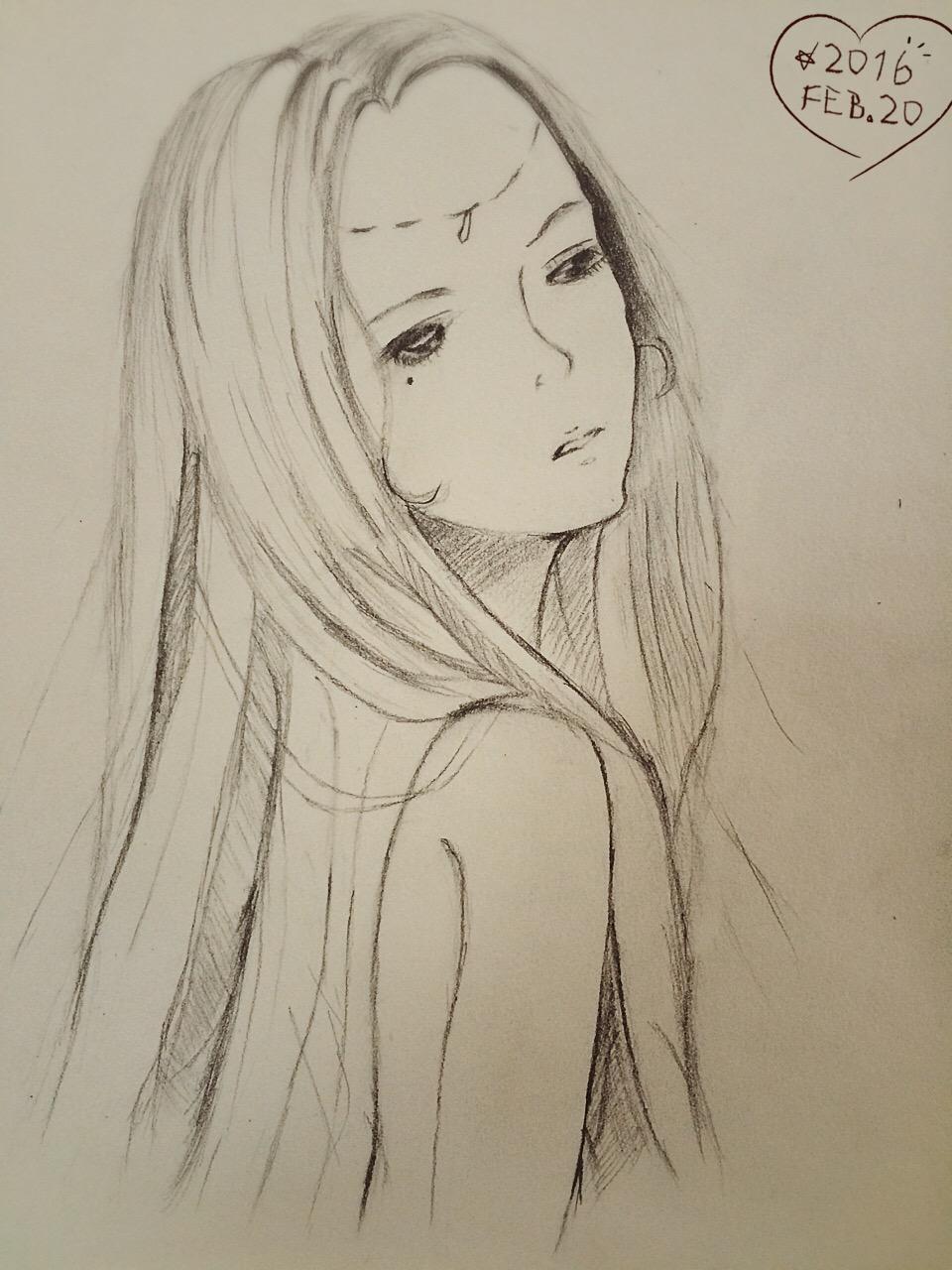 少女铅笔画画图片大全