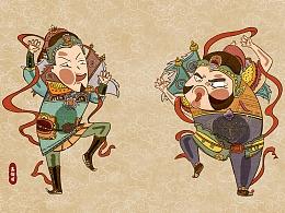 鼠年春节搞怪趣味手绘复古热闹门神