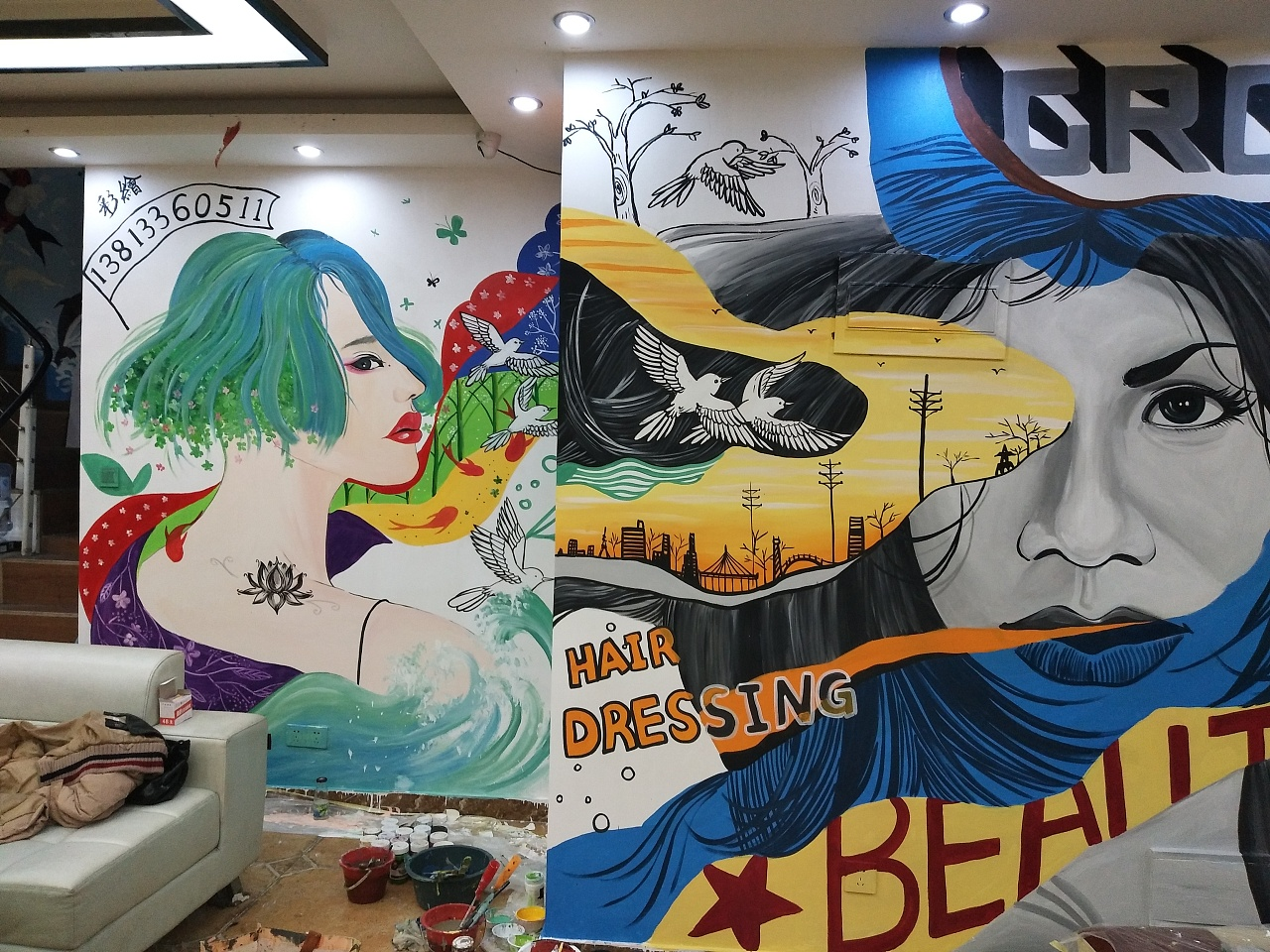 理发店墙绘 其他 墙绘/立体画 北海青芥 - 原创作品