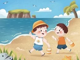 捉螃蟹趣事-商业插画