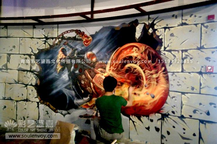 3d壁画,3d手绘墙