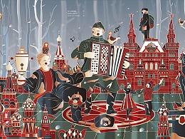 城市印象插画-莫斯科