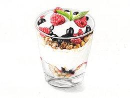 【驴大萌彩铅教程179】手绘美食 双莓奶昔冰淇淋杯