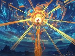 給電影《哪吒之魔童降世》 畫的一些海報及概念圖。